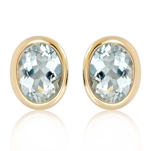 Aquamarin Studs Handmade in Gold