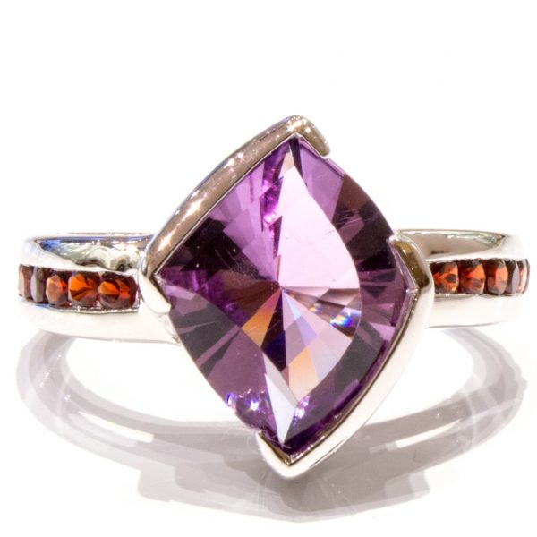 Amethyst Laser Faceted Silver Ring 1