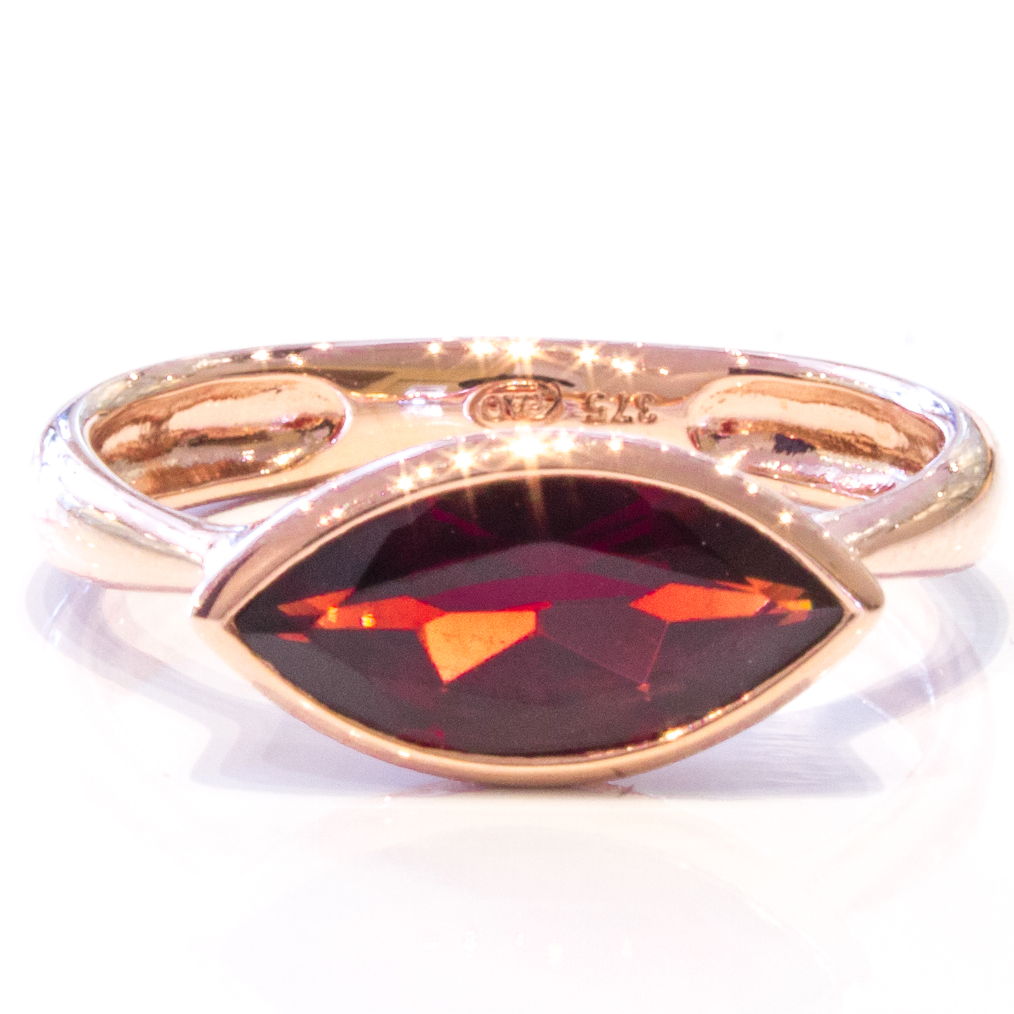 Rose Gold Handmade Ring with Garnet