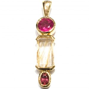 Pink Tourmalines and Rutilated Quartz Pendant