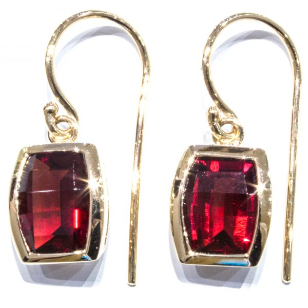 Garnets Handmade Gold Earrings