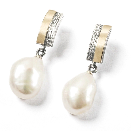 Baroque Pearl Handmade Gold and Silver Earrings