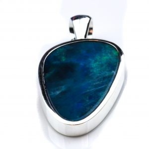 Black Opal Pendant with Greens and Blues
