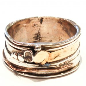 Yellow Gold and Silver Israeli Ring