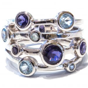 Blue Topaz and Iolite Silver Ring