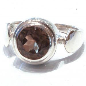 Handmade Contemporary Silver Ring with Smoky Quartz