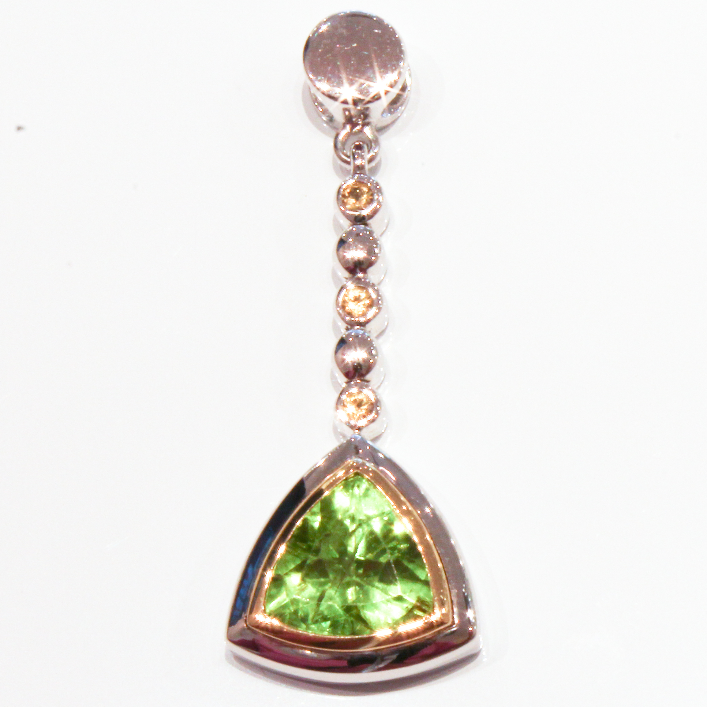 Yellow Sapphires and Peridot Handmade White Gold Pendant