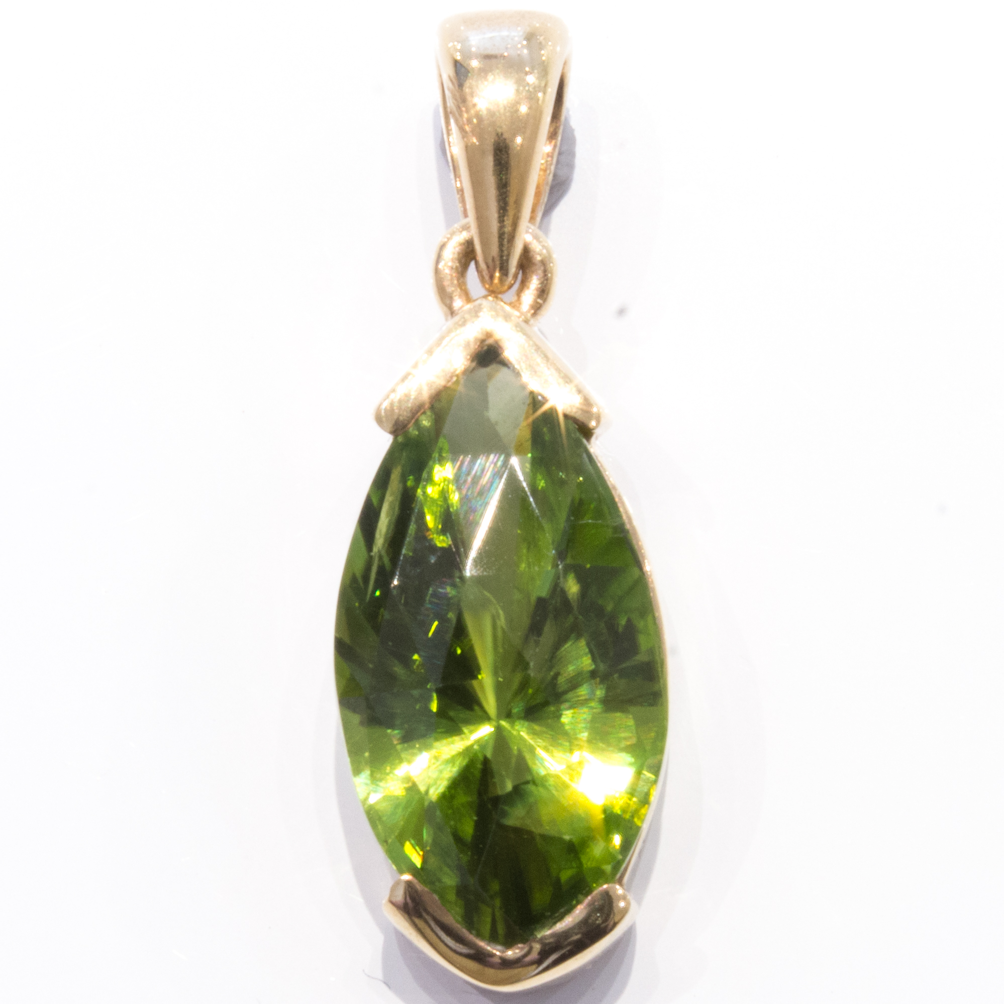 Faceted Peridot Handmade Gold Pendant