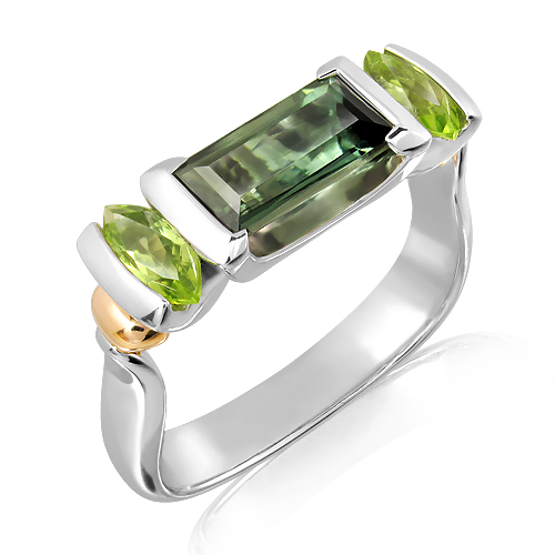 Green Tourmaline and Peridots Handmade Ring