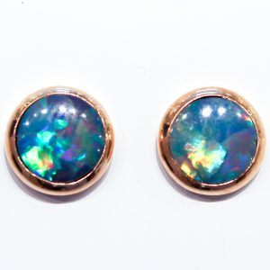 Handmade Opal Studs in Gold