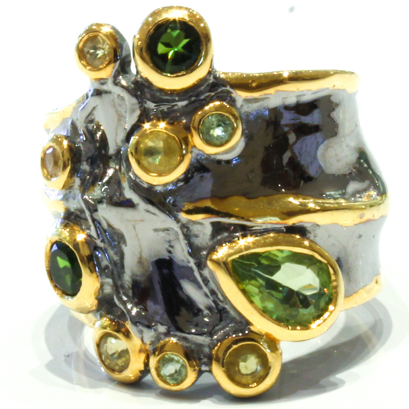 Peridot, Diopside and Sapphires Ring