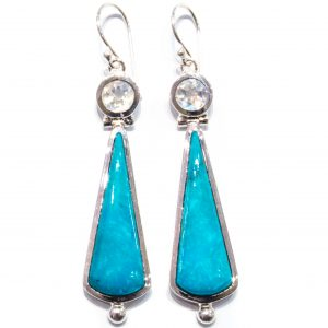 Rainbow Moonstone and Turquoise Handmade Earrings