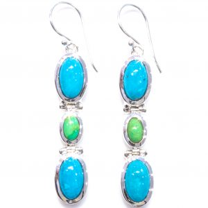 Blue and Green Turquoise Handmade Earrings
