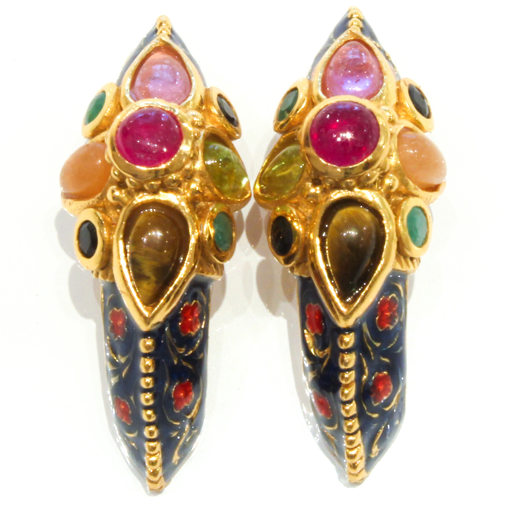 Bold Earrings with multicolour Stones and Enamel