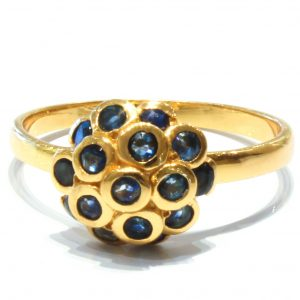 Blue Sapphires Ring in Gold