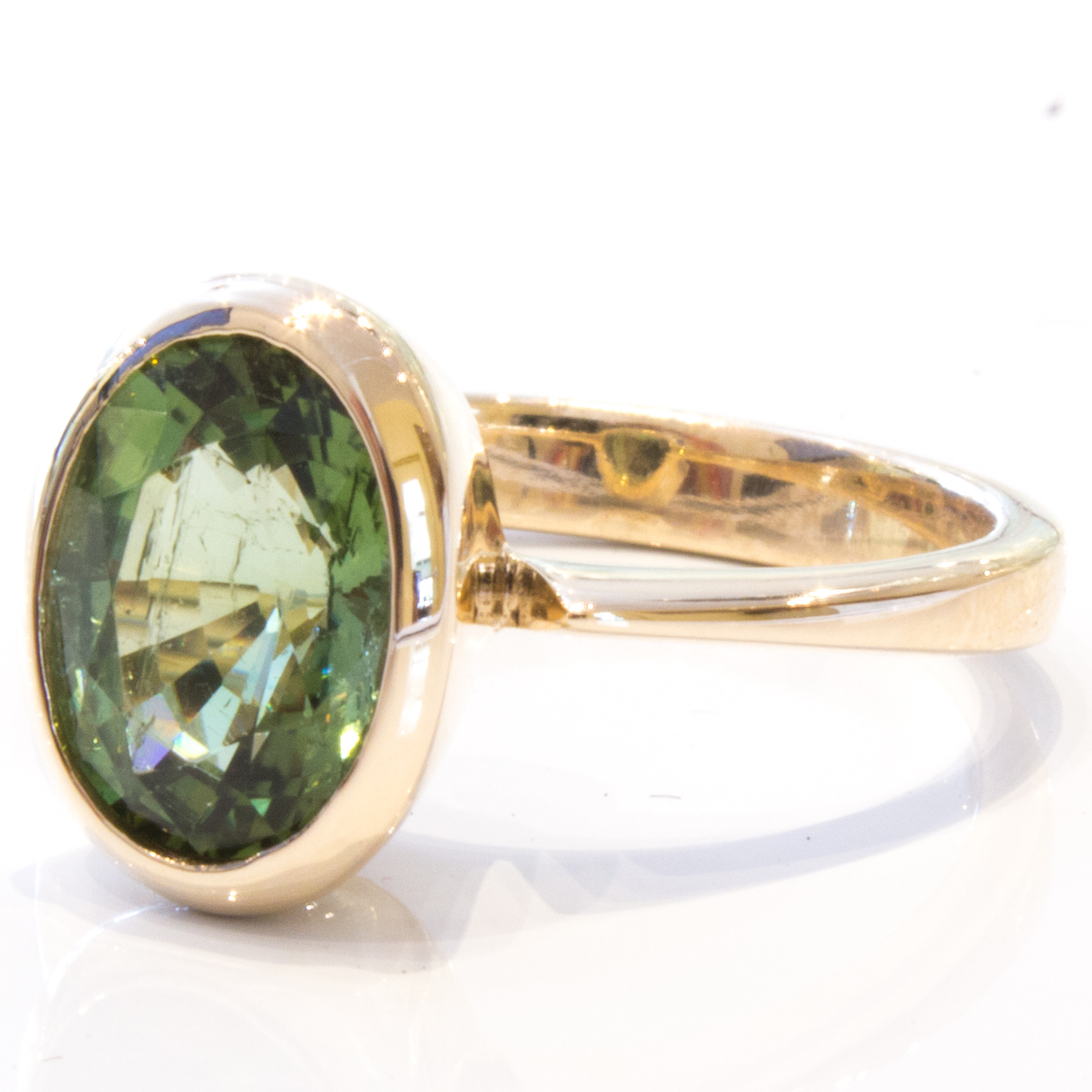 Green Tourmaline Handmade Gold Ring