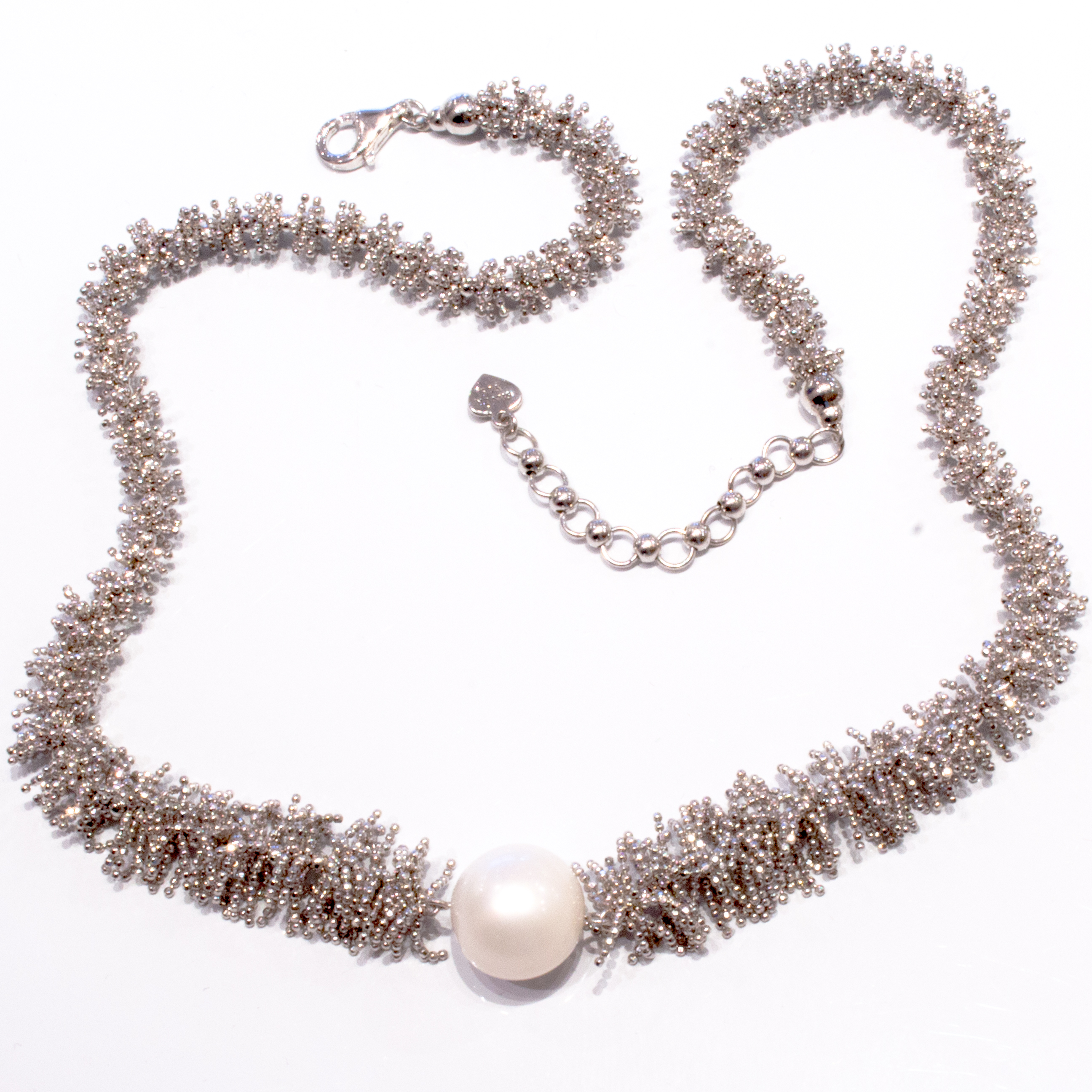 Sterling Silver Necklace with Cultured Pearl