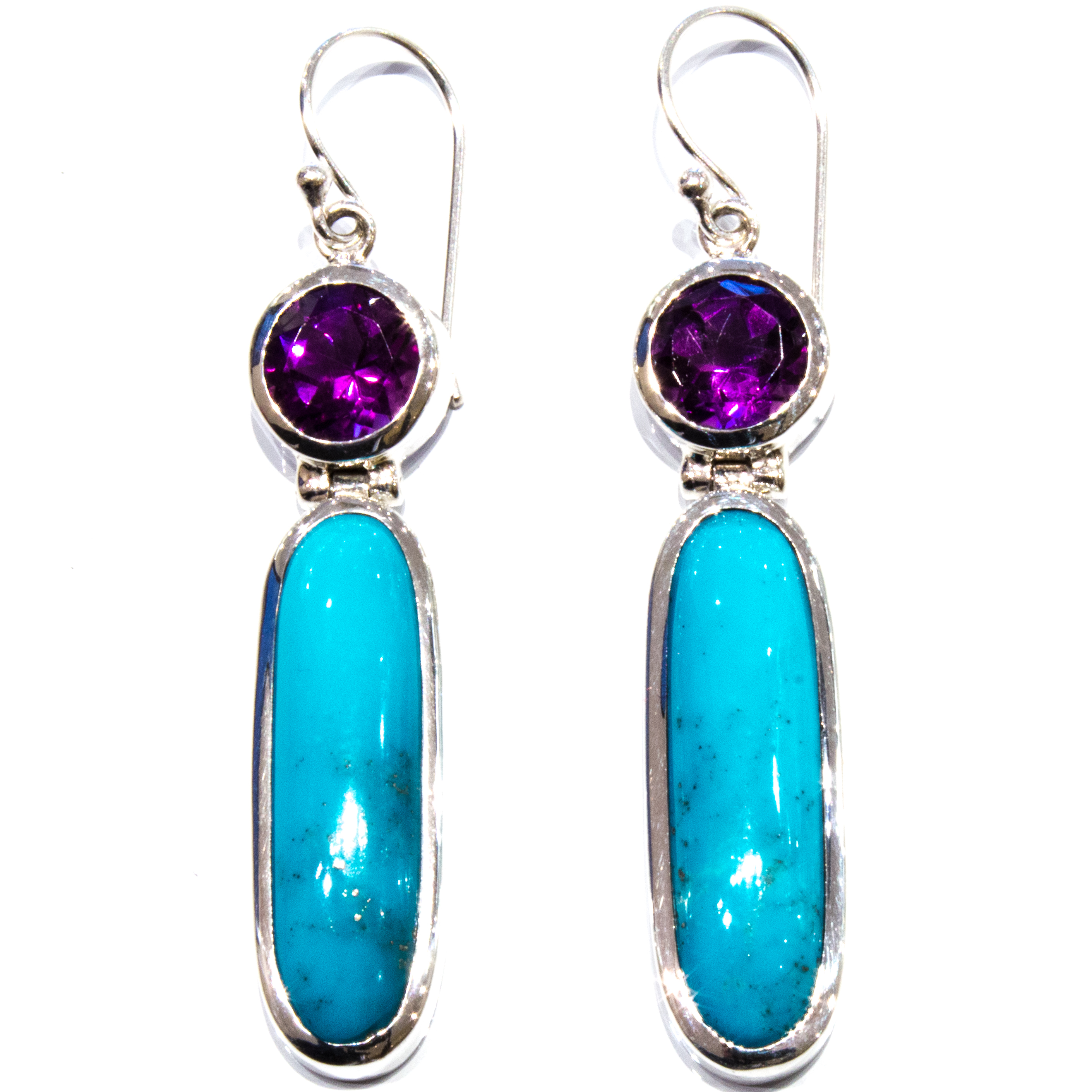 Amethyst and Turquoise Handmade Earrings