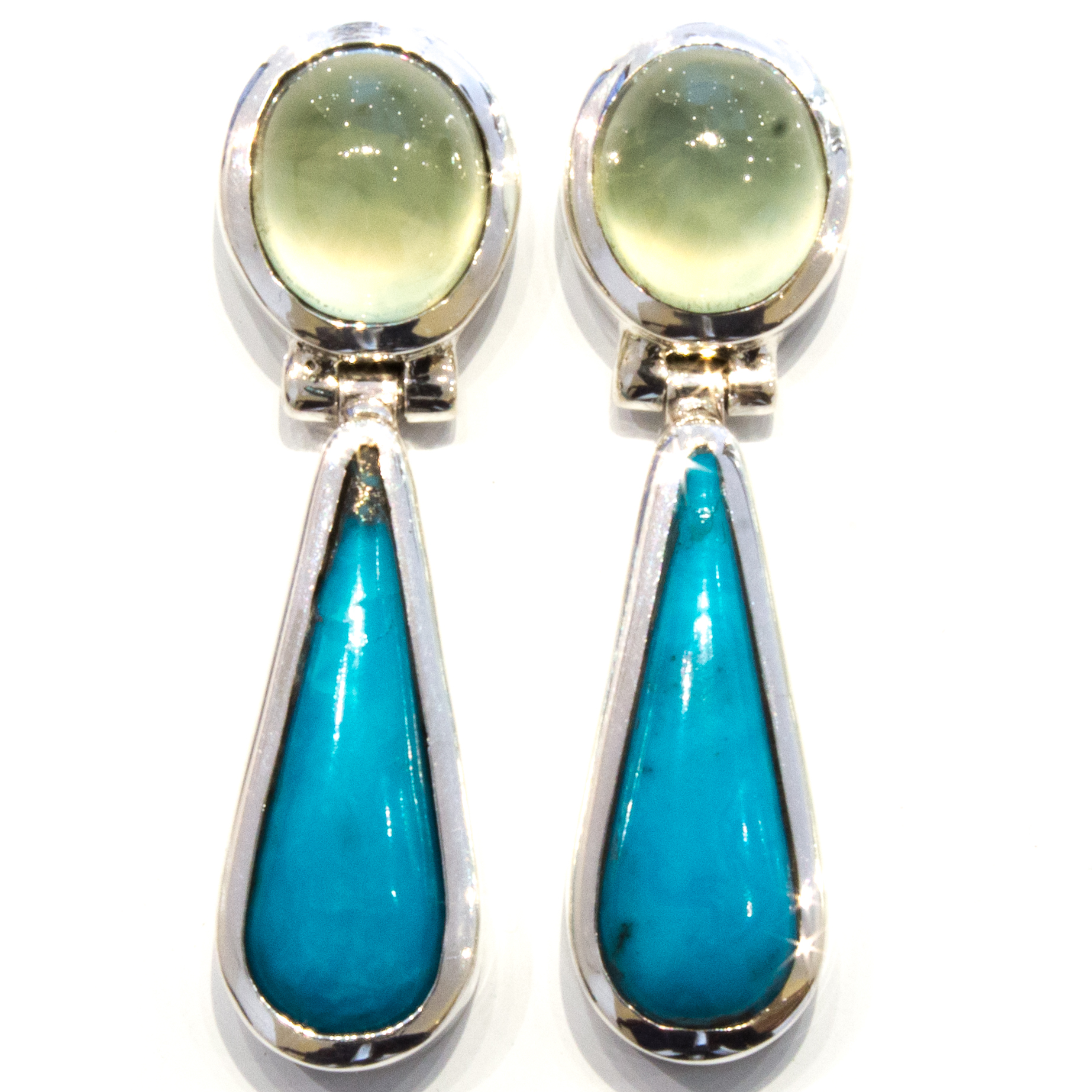 Prehnite and Turquoise Handmade Earrings