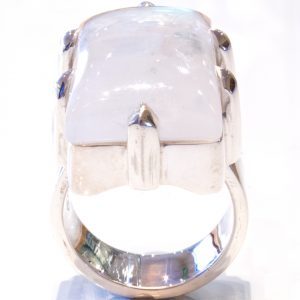 Rainbow Moonstone Handmade Ring with Claws