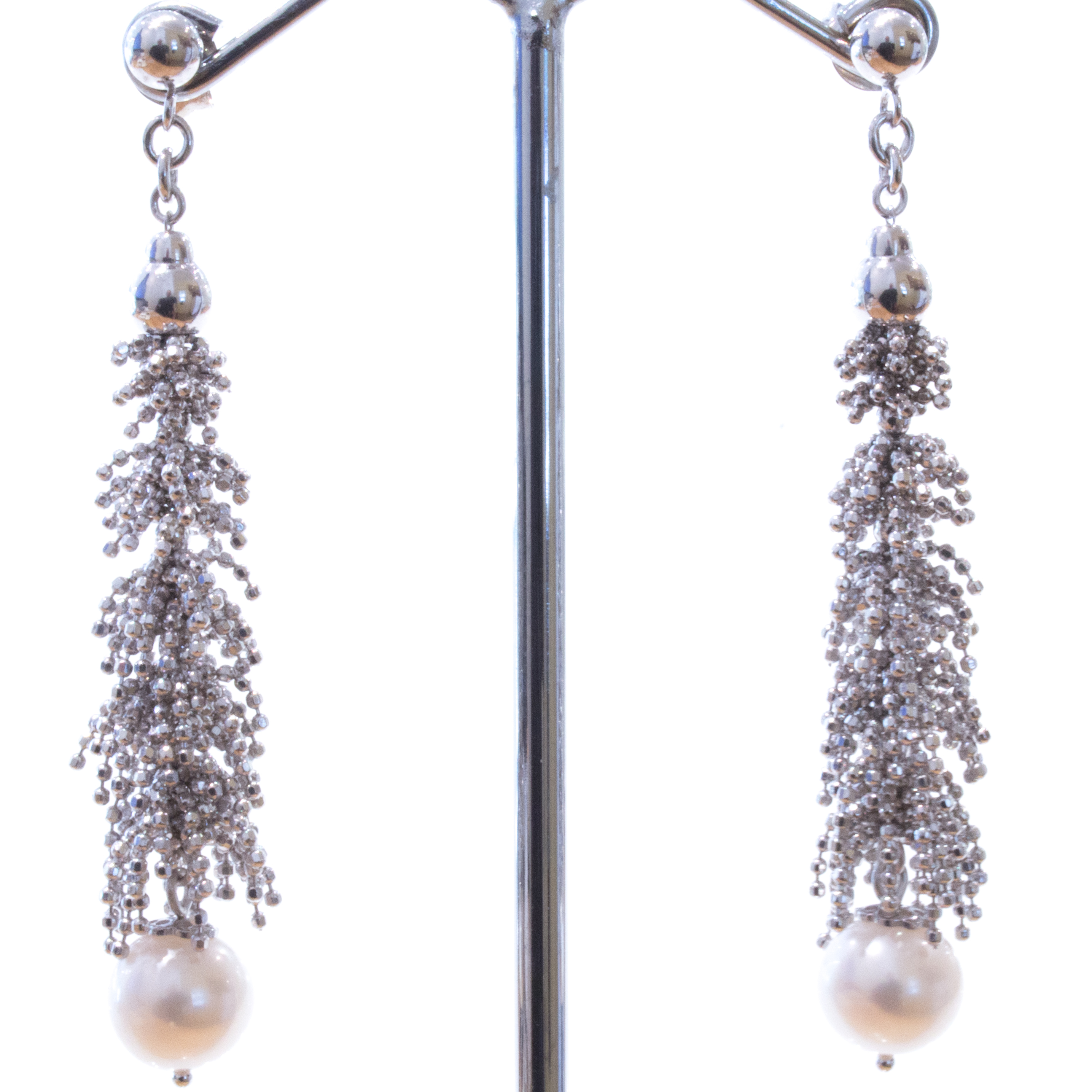 Pearls and Italian Mesh Earrings