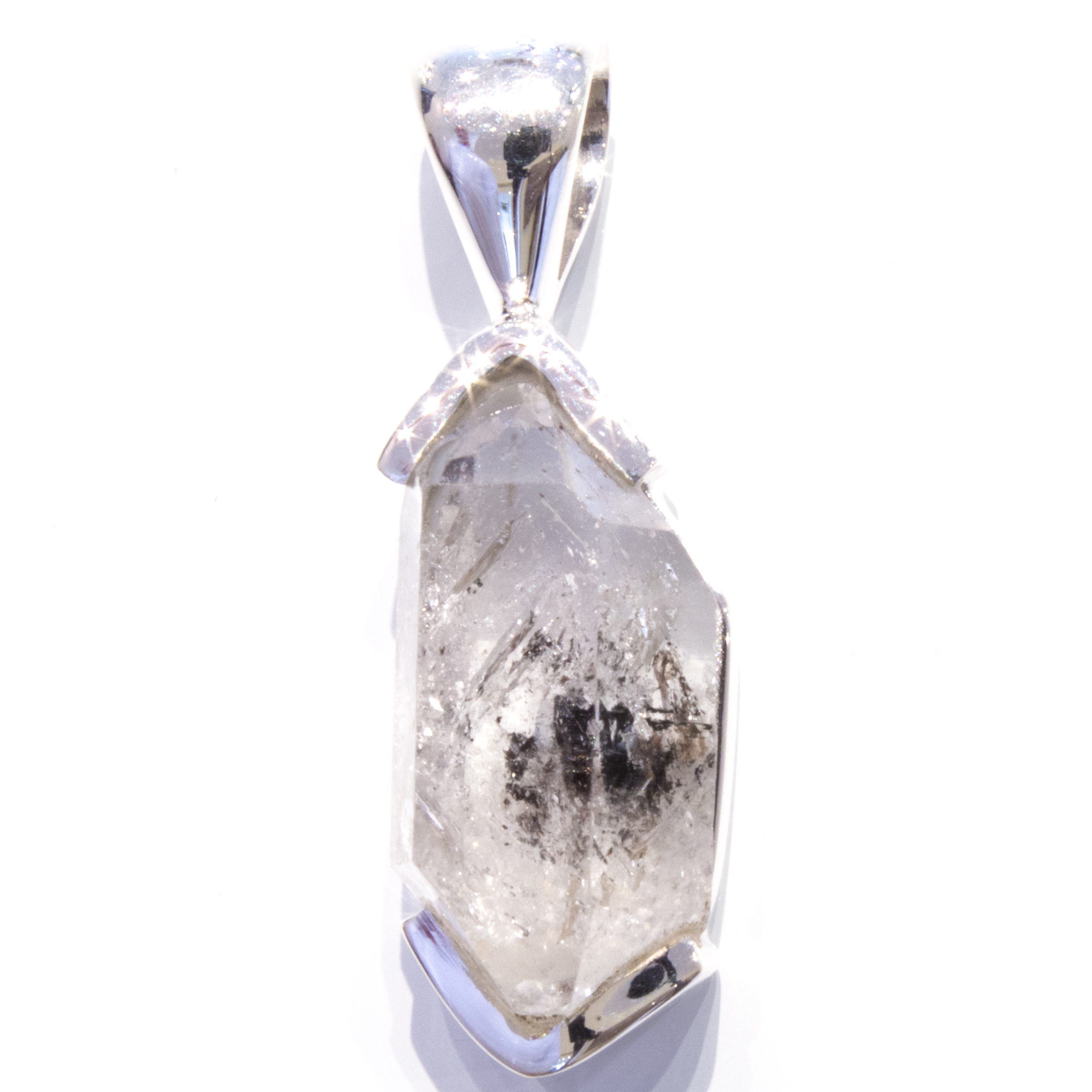 Large Herkimer Diamond Pendant in Silver