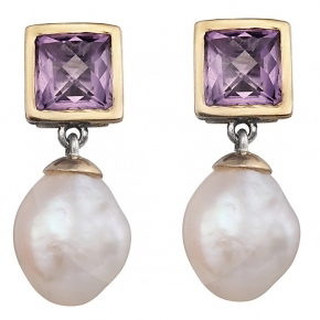 Amethyst and Baroque Pearl Handmade Earrings