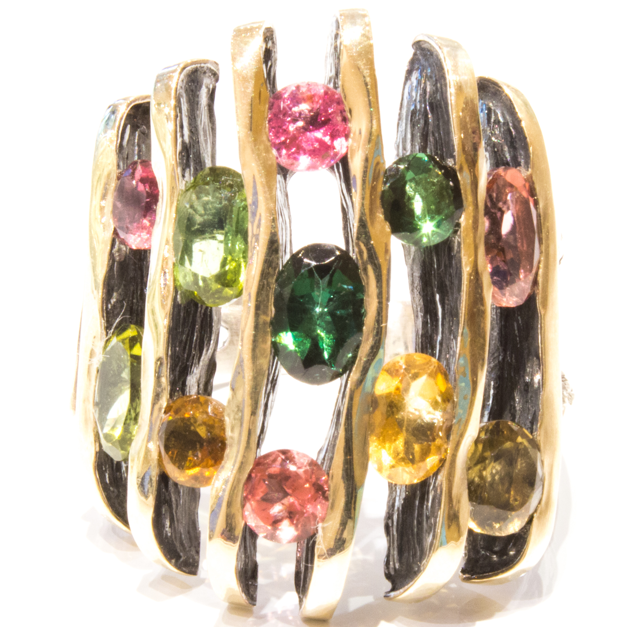 Handmade Gold and Silver Ring With Tourmalines
