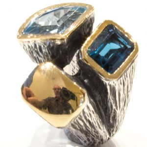 Blue Topaz Handmade Gold and Silver Ring