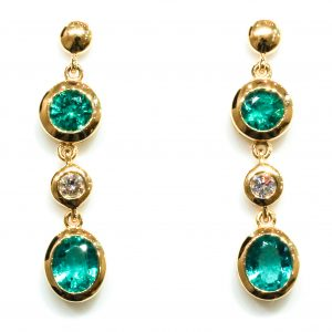 Emerald And Diamonds Handmade Gold Earrings