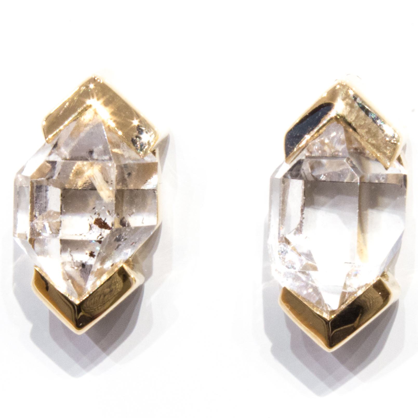 Herkimer Diamonds Studs in 14 Ct Gold