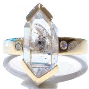 14 Ct Gold Handmade Ring with Herkimer Diamond