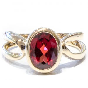 Garnet in Handmade Gold Ring