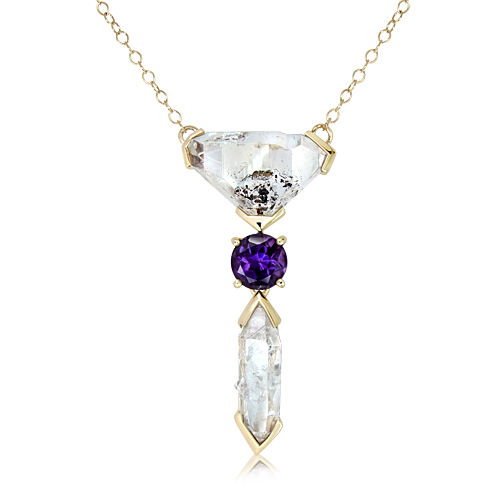 Herkimer Diamonds Handmade Gold Necklace