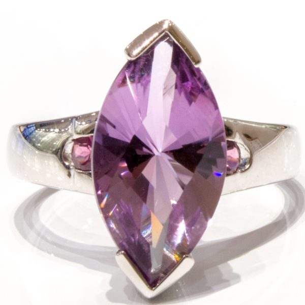 Faceted Amethyst and Garnets Handmade Ring