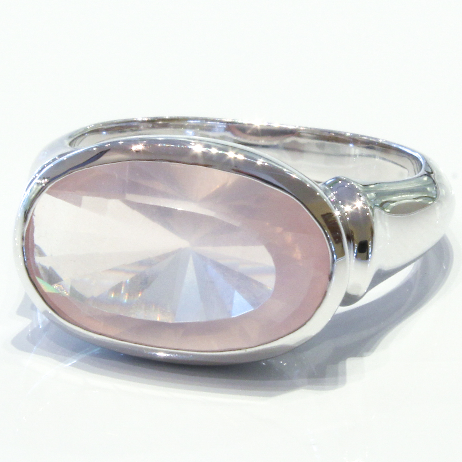 Laser Faceted Rose Quartz Silver Ring