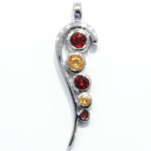 Garnet and Citrine Sterling Silver Pendant