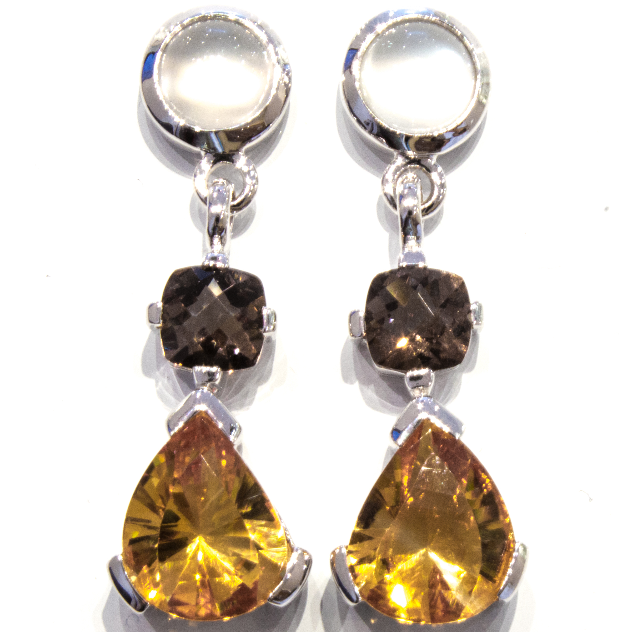 Citrine Smoky Quartz and Moonstone Silver Earrings
