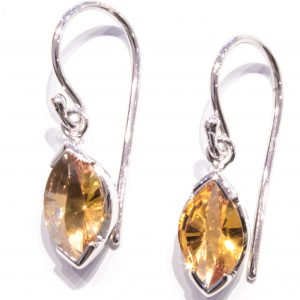 Laser Cut Citrine Silver Earrings
