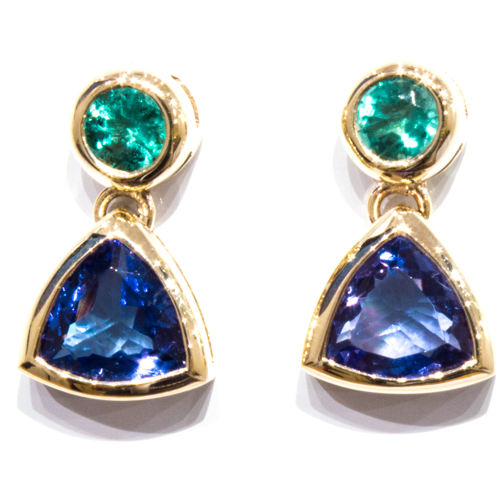 Emerald and Tanzanite Handmade Gold Earrings