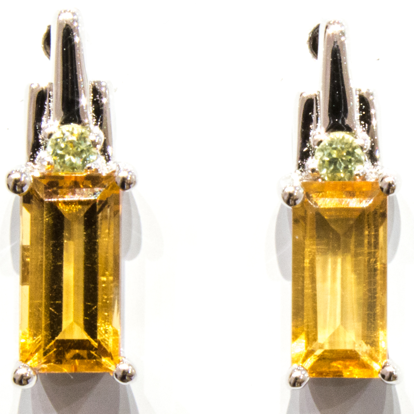 Citrine and Peridot Sterling Silver Earrings