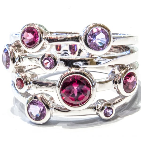 Garnets and Amethyst Silver Ring