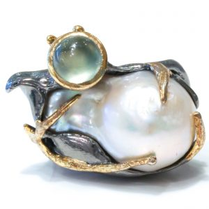 Baroque Pearl and Prehnite Ring