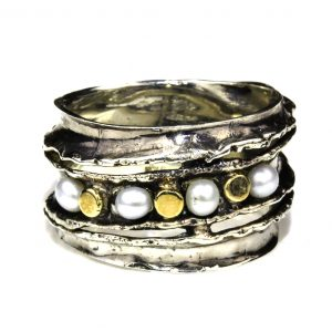 Israeli Gold and Silver Ring with Pearls