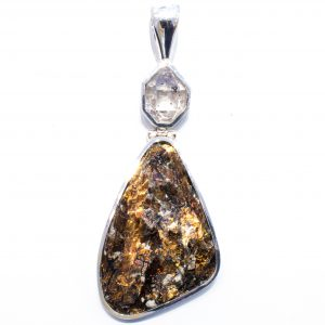 Herkimer Diamond and Astrophyllite Pendant