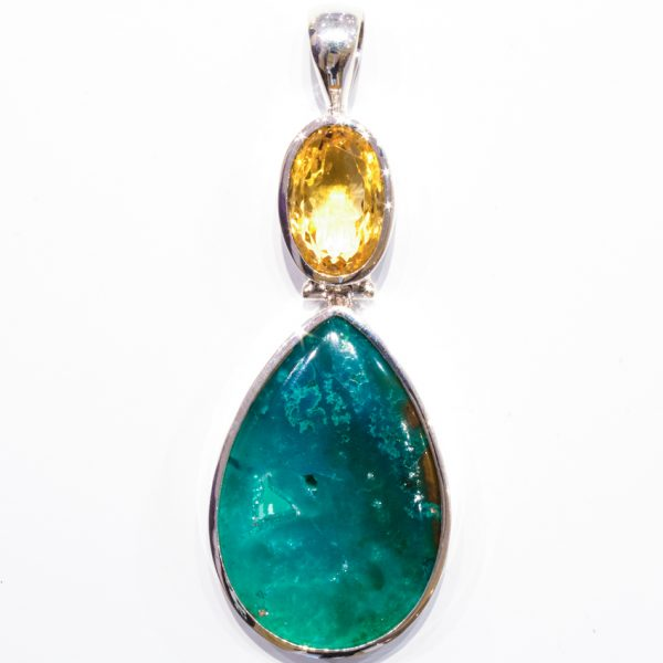 Gem Silica and Citrine Handmade Silver Pendant