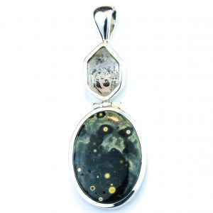 Sterling Silver Pendant with Ocean Jasper and Herkimer Diamond