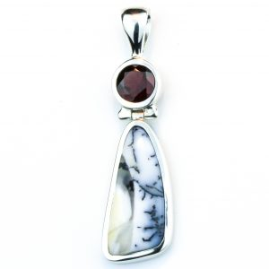 Garnet and Dendritic Agate Handmade Pendant