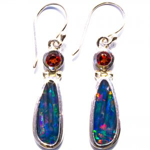 Black Opal and Garnet Earrings
