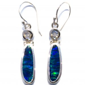 Australian Opals & Moonstone Silver Earrings
